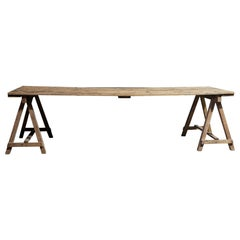 Early 20th Century English Large Pine Trestle Table