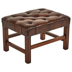 Early 20th Century English Tufted Leather Footstool or Bench