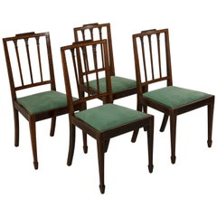 Early 20th Century English Marquetry Side Chairs, Mahogany, Rosewood, Lemonwood