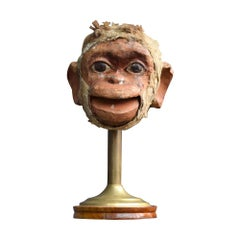 Early 20th Century English Monkey Fur Articulated Puppet Head