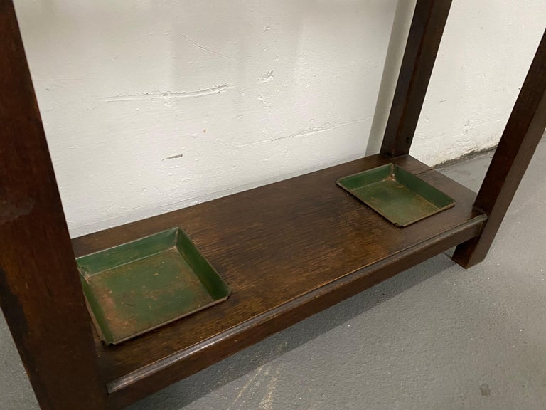 Early 20th Century English Oak Arts & Crafts Hall Stand For Sale 2