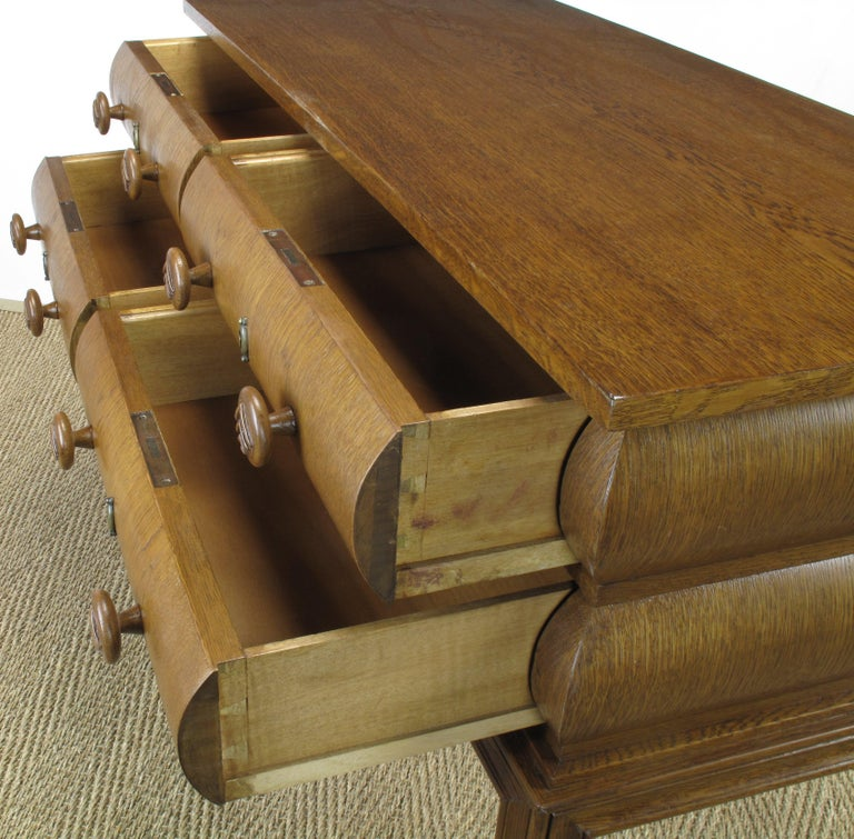 Early 20th Century English Oak Stacked Bullnose Console Table For Sale 9