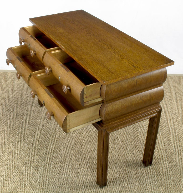 Early 20th Century English Oak Stacked Bullnose Console Table For Sale 3
