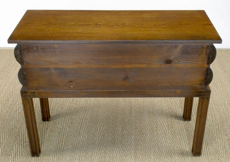 Early 20th Century English Oak Stacked Bullnose Console Table For Sale 5