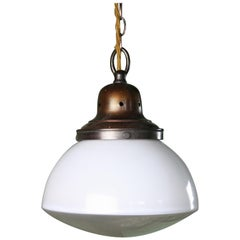 Early 20th Century English Opaline & Frosted Glass Copper Pendant Light