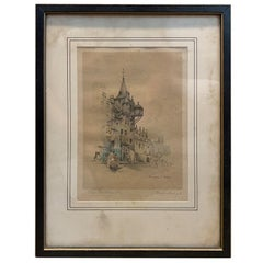 """Early 20th Century English Pastel Drawing """"The Tolbooth"""" by Marjorie C. Bates"""