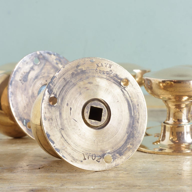 British Early 20th Century English Rose Brass Door Knobs For Sale