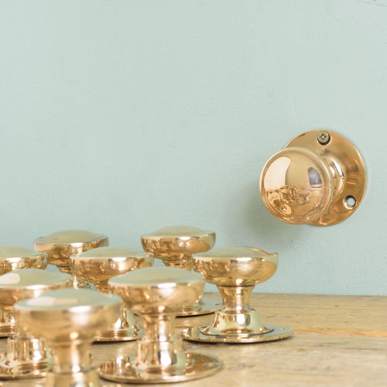 Early 20th Century English Rose Brass Door Knobs For Sale 2