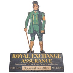 Early 20th Century English Royal Exchange Assurance Advertising Trade Sign
