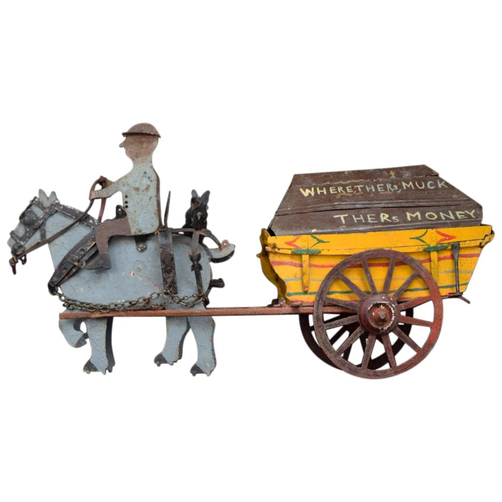 Early 20th Century English Scratch Built Toleware Horse and Cart Model