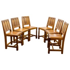 Early 20th Century English Set of Six Arts & Crafts Yorkshire Oak Dining Chairs