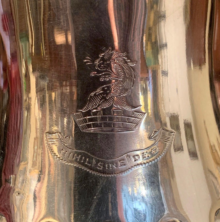 Silvered Early 20th Century English Silver Plated Pitcher with Engraved Crest For Sale