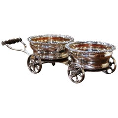Early 20th Century English Silver Plated Wine Serving Trolley on Wheels