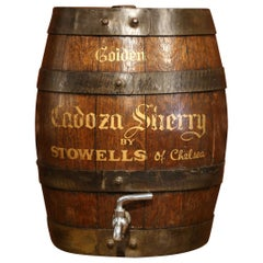 Early 20th Century English Wood Carved Cream Sherry Barrel with Spout