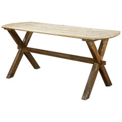 Early 20th Century English X-Frame Tavern Table
