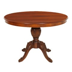 Early 20th Century Era Art Nouveau Neoclassic Hand-Carved Walnut Round Table