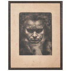 Early 20th Century Etching, Portrait of Beethoven, by Jan Fekkes, Dated 1918