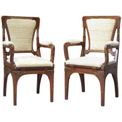 Early 20th Century Eugenio Quarti Couple of Armchairs in Inlaid Wood