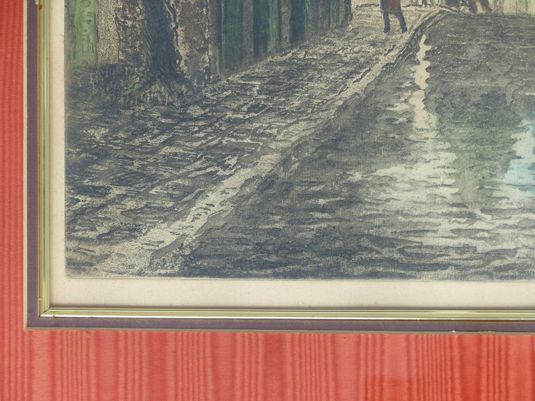 Early 20th Century European Hand-Colored Street-Scene Engravings, Pair For Sale 5