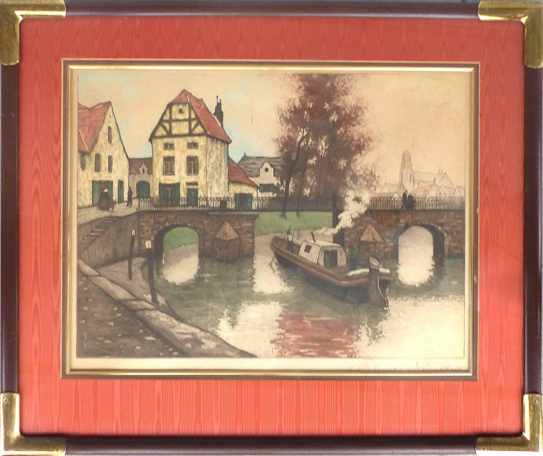 Early 20th Century European Hand-Colored Street-Scene Engravings, Pair  Offered for sale is a pair of early 20th century hand-colored engravings of European scenes that have been nicely framed with silk matting. The engravings are hand signed in the