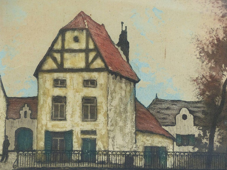 Lacquered Early 20th Century European Hand-Colored Street-Scene Engravings, Pair For Sale