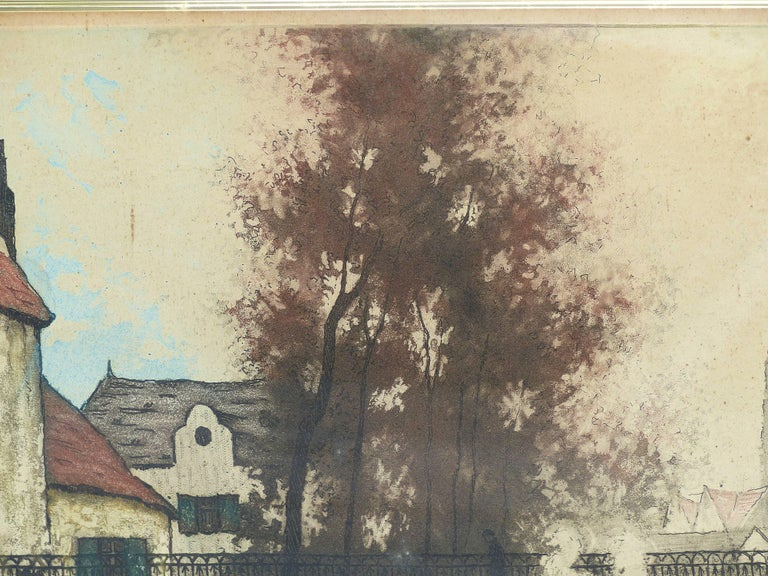 Wood Early 20th Century European Hand-Colored Street-Scene Engravings, Pair For Sale