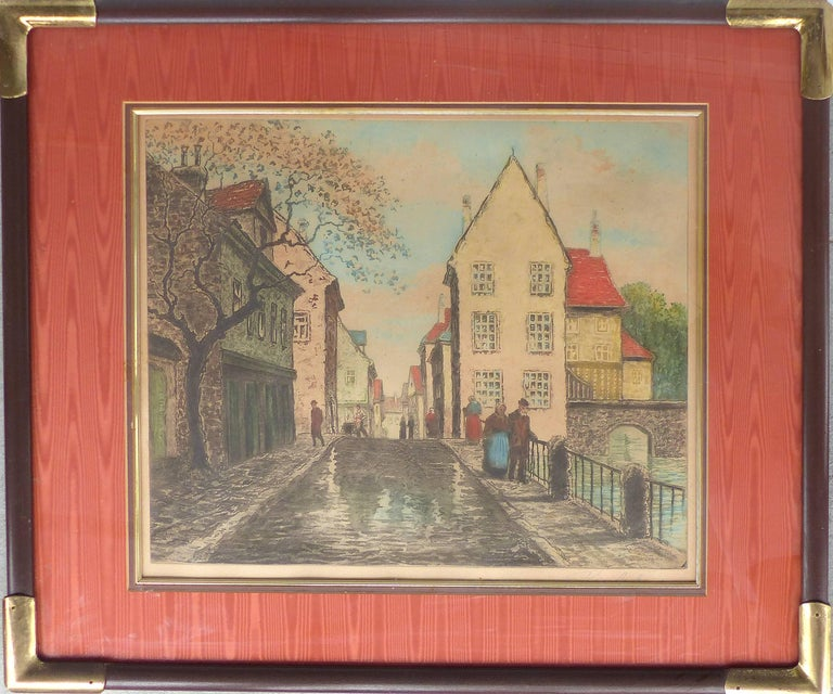 Early 20th Century European Hand-Colored Street-Scene Engravings, Pair For Sale 3