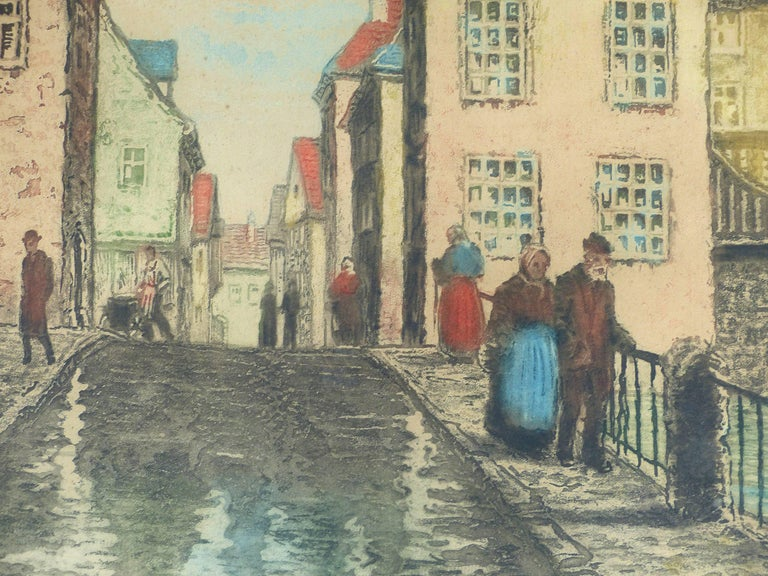 Early 20th Century European Hand-Colored Street-Scene Engravings, Pair For Sale 4