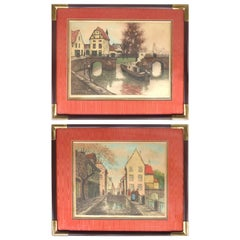 Early 20th Century European Hand-Colored Street-Scene Engravings, Pair