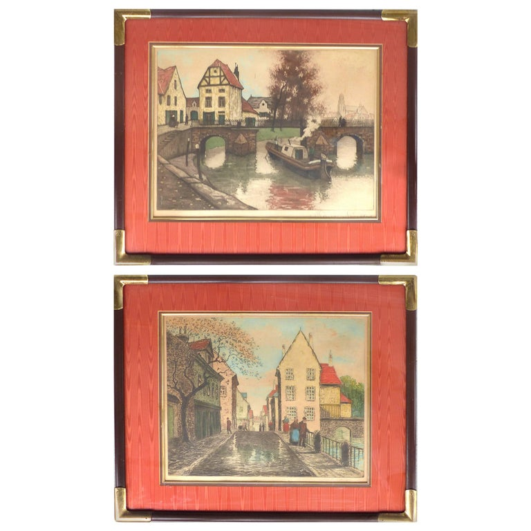 Early 20th Century European Hand-Colored Street-Scene Engravings, Pair For Sale