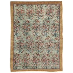 Early 20th Century European Inspired Persian Accent Rug in Seafoam Green