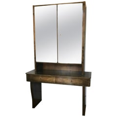 Early 20th Century European Mirrored Deco Bar Cabinet
