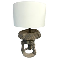 """Early 20th Century Faux Bois """"Fountain"""" Table Lamp with Custom Paper Shade"""