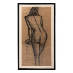 Early 20th Century Modern Female Nude Figure Original Charcoal Drawing