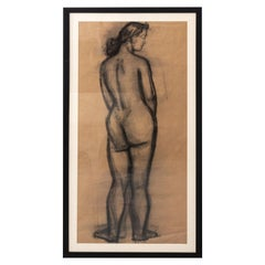 Early 20th Century Modern Standing Female Nude Figure Original Charcoal Drawing