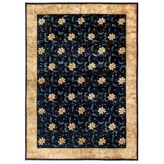 Early 20th Century Floral Chinese Beige and Navy Blue Handmade Wool Carpet