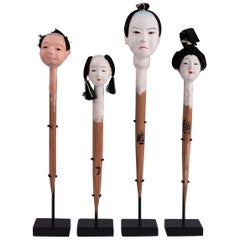 Early 20th Century Folk Art Doll Heads '4', Japan