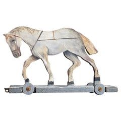 Early 20th Century Folk art German Pull along Horse Toy