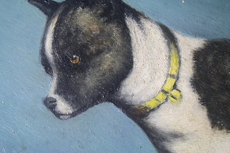 Early 20th Century Folk Art Staffordshire Bull Terrier Dog Ratine Oil on Board In Good Condition For Sale In Lowestoft, GB
