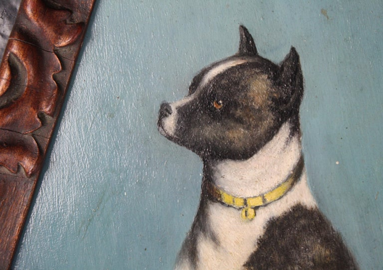 Early 20th Century Folk Art Staffordshire Bull Terrier Dog Ratine Oil on Board For Sale 2