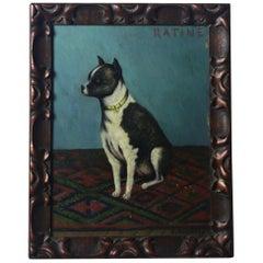 Early 20th Century Folk Art Staffordshire Bull Terrier Dog Ratine Oil on Board