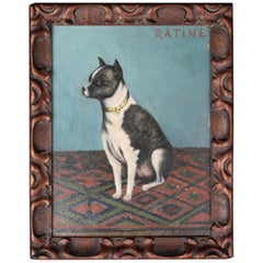 Early 20th Century Folk Art Staffordshire Bull Terrier Dog Ratine Oil on Board