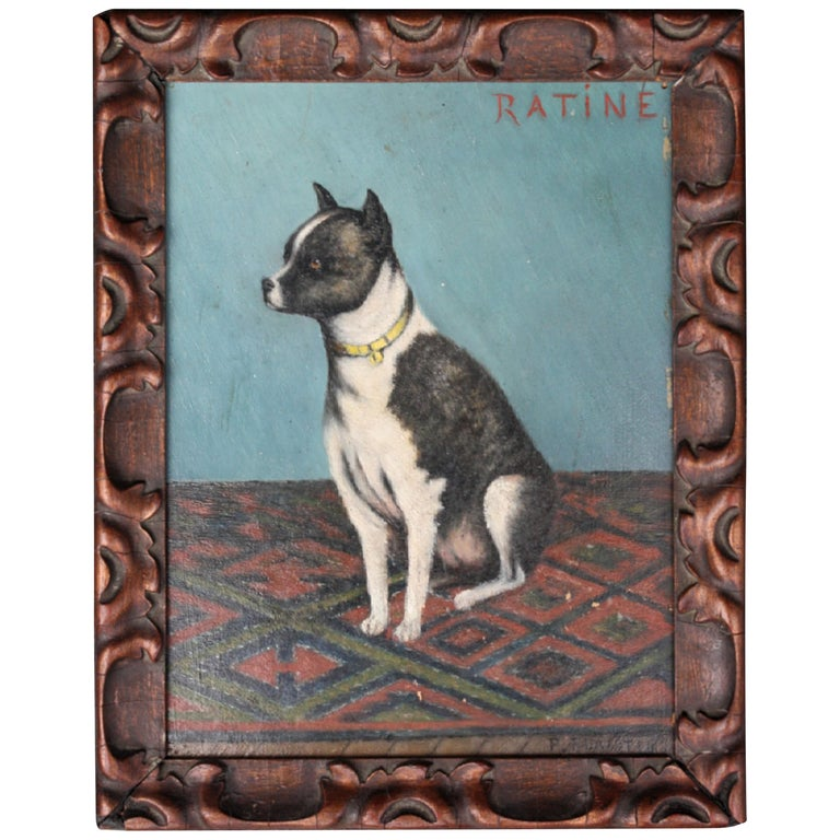 Early 20th Century Folk Art Staffordshire Bull Terrier Dog Ratine Oil on Board For Sale