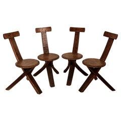 Early 20th Century Folk Art Tripod Chairs in Oak