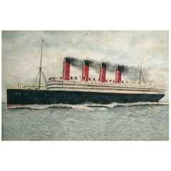 Early 20th Century Folk Art Water Color of RMS Aquitania, circa 1930