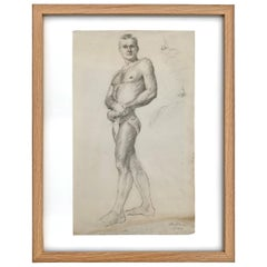 Early 20th Century Framed Academic Figure Drawing