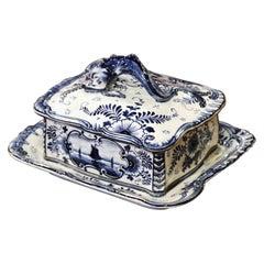 Early 20th Century Franz Anton Mehlem Royal Bonn Delft Sardine or Butter Dish