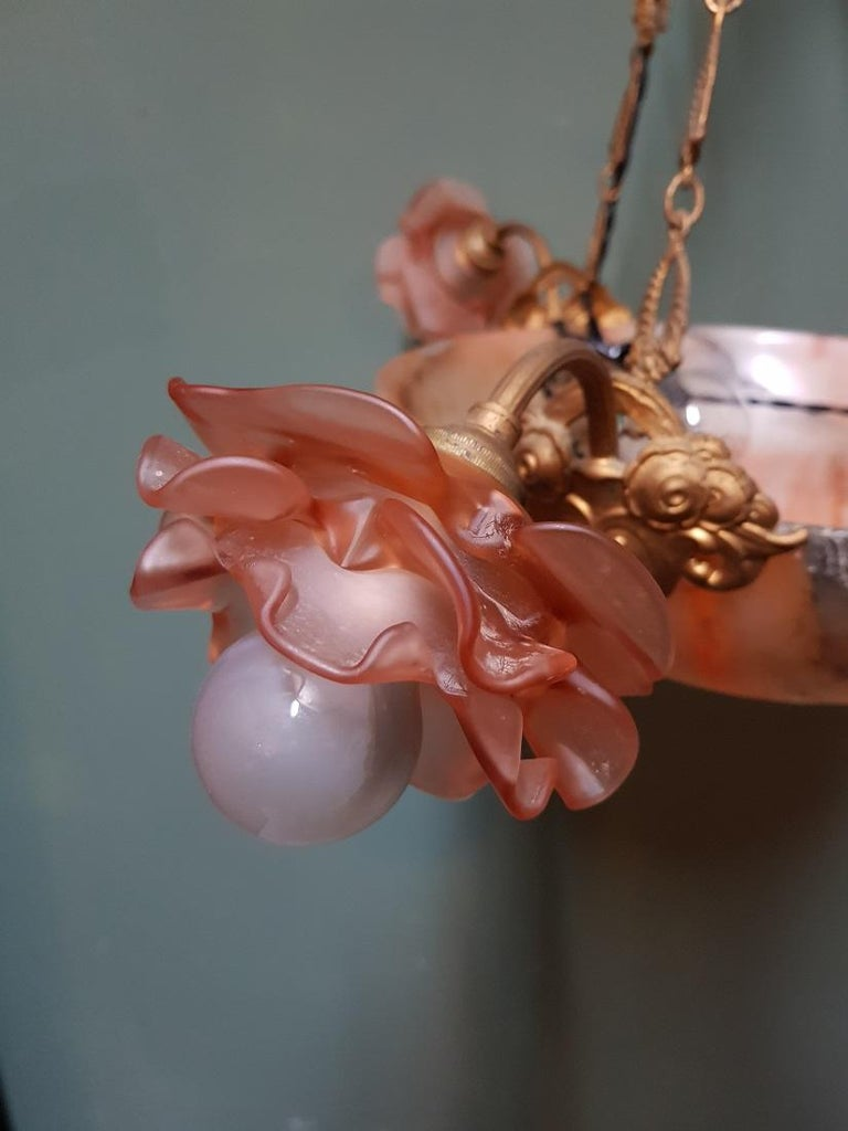 Early 20th Century French Alabaster Chandelier For Sale 1