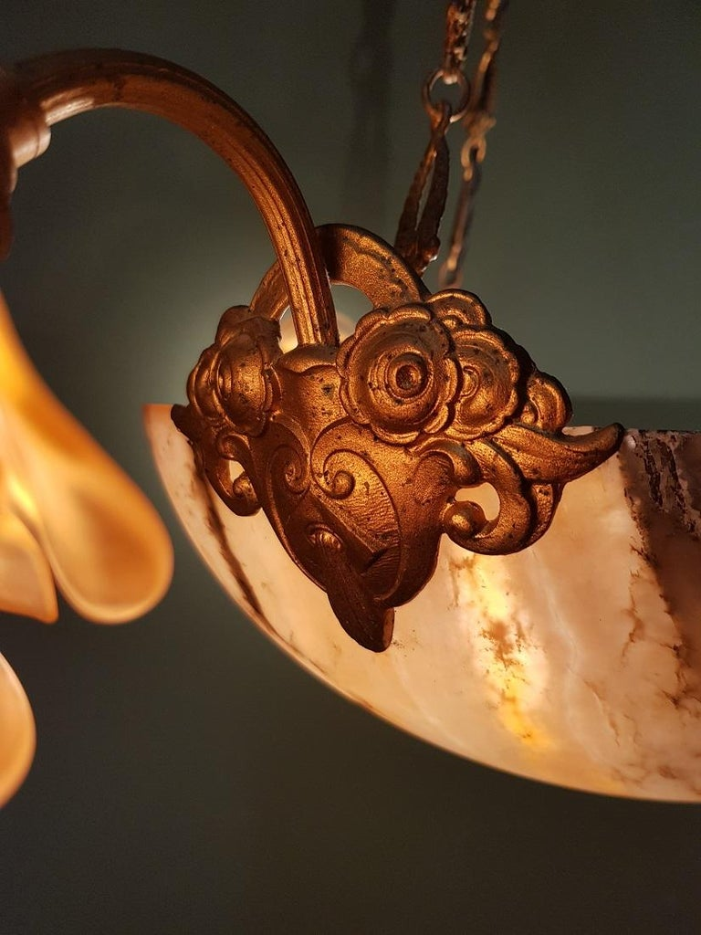 Early 20th Century French Alabaster Chandelier For Sale 4