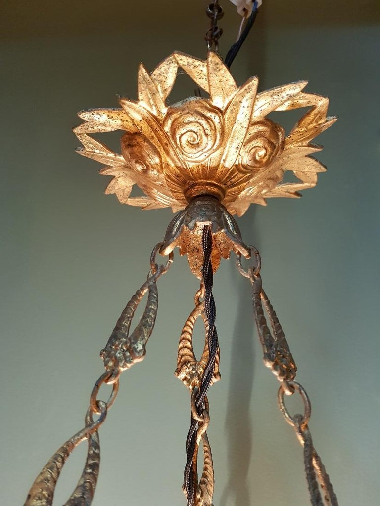 Early 20th Century French Alabaster Chandelier For Sale 5